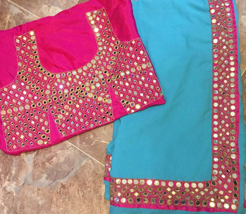 Blue Pink Mirror Handwork Bollywood Designer Dresses Online ,Indian Dresses - 2