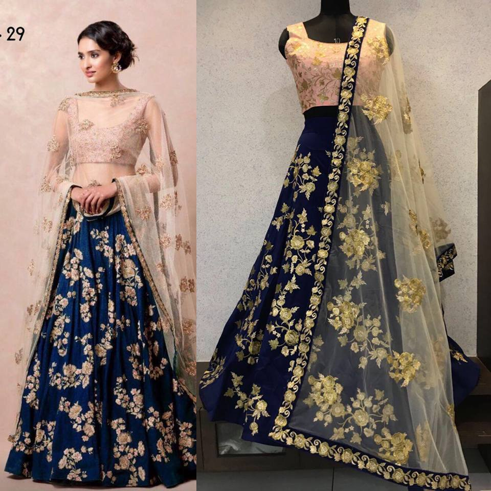 Navy Blue Taffeta Embroidery Lehengas Online Shopping India