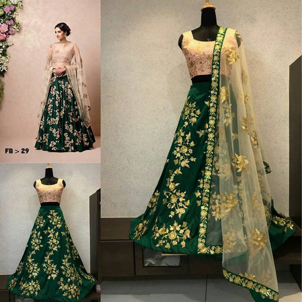 Green Taffeta Silk Embroidery Indian Lehenga Choli Designs