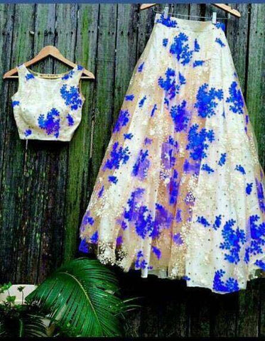 White And Blue Net Bollywood Replica Lengha Choli Style