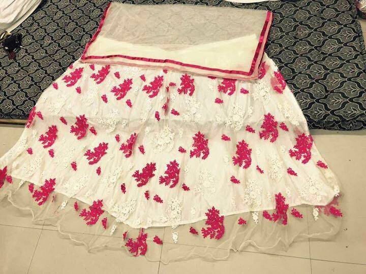 White And Pink Net Bollywood Replica Indian Choli Dresses