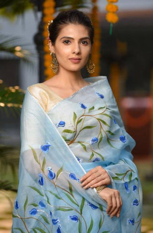 Light Blue Floral Digital Printed Latest Organza Saree and Blouse Set