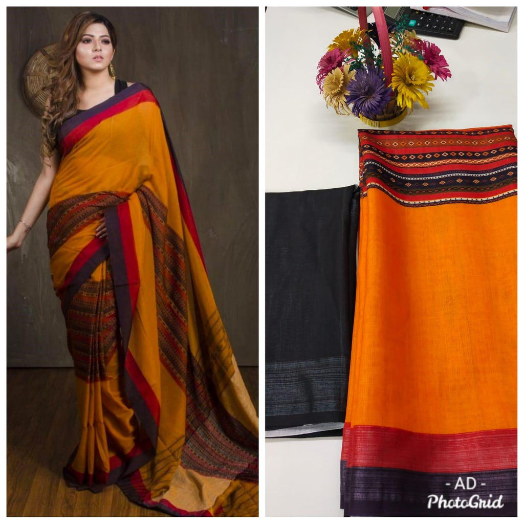 Burnt Orange Linen Digital Print Latest Collection Of Sarees With Price