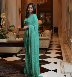 Green Bollywood Sequins Saree in Georgette with Plain Silk Blouse