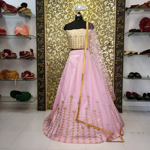 Pastel Pink Taffeta Silk Embroidered Latest Party Lehenga Designs