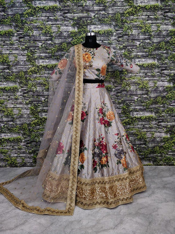 Light Mauve Taupe Digital Print Fashion Lehenga Choli Online