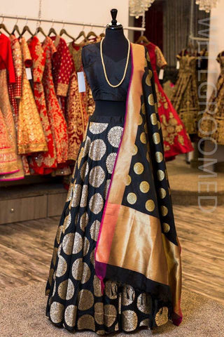 Latest Black Brocade  Bollywood Lehenga Choli Online Shopping