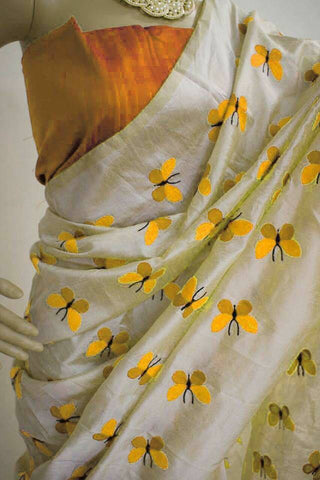 Off White And Yellow Cotton Silk  Indian Bollywood Dresses Replica