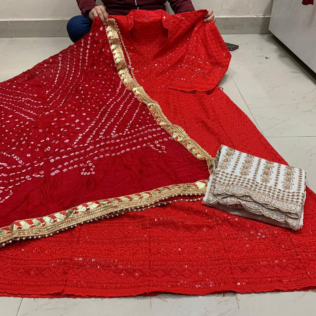 Red Cotton Anarkali Palazzo With Silk Bandhani Dupatta
