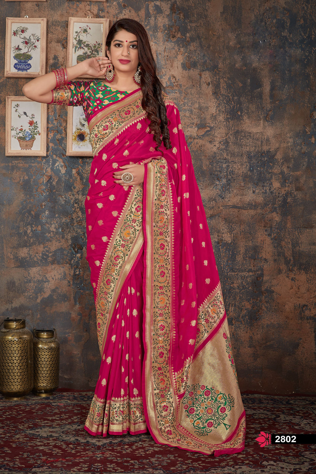 Pink Banarasi Indian Silk Sarees Online Shopping