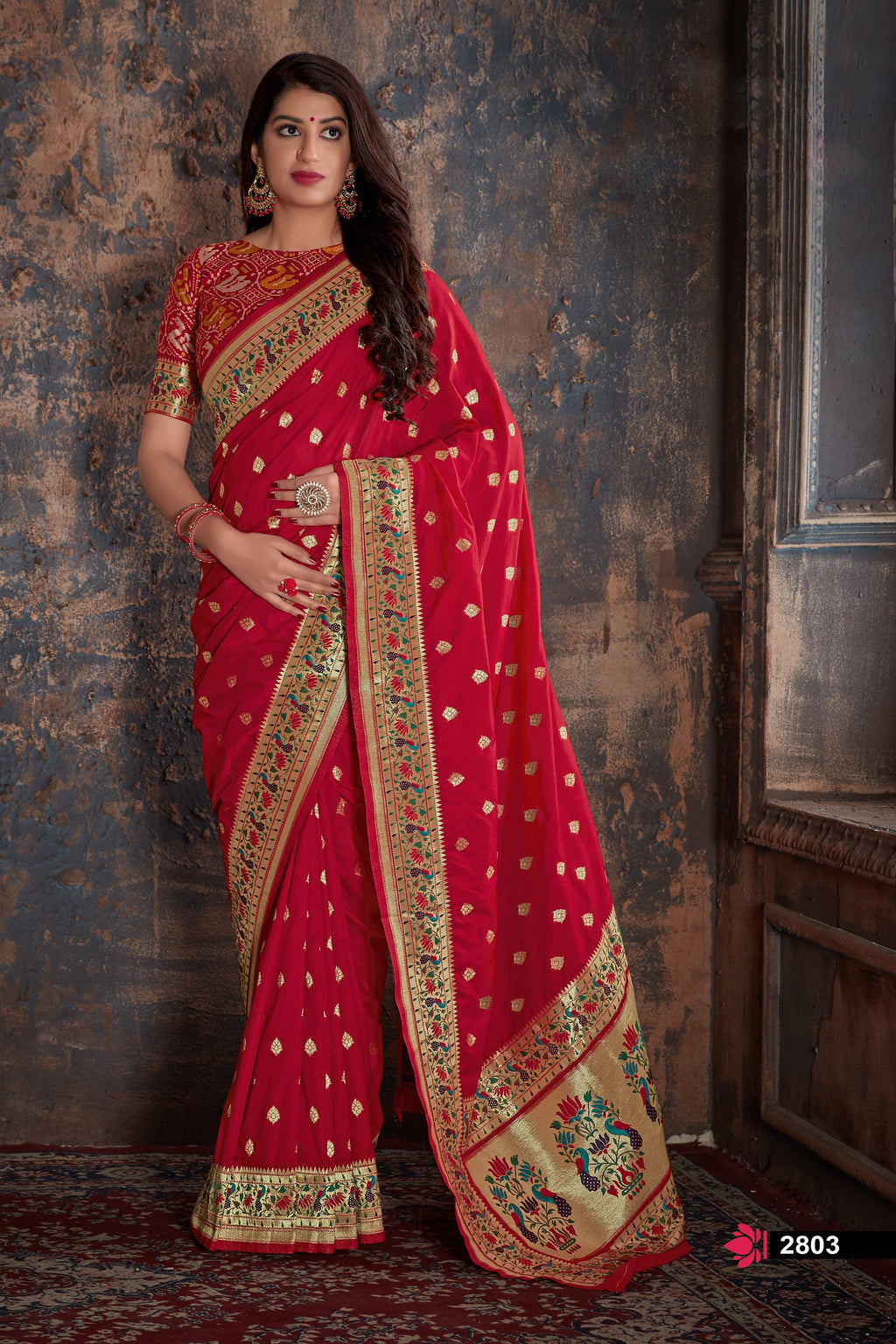 Red Banarasi Silk Indian Wedding Sarees Online Shopping