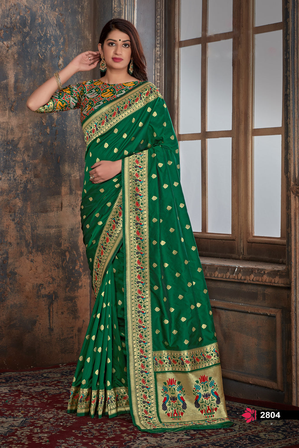 Green Banarasi Silk Online Saree Shopping Websites