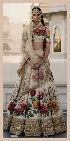 Ivory Color Floral Print Online Wedding Lehenga Shopping