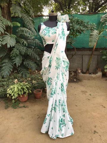 Deepika White Floral Printed Chinon Satin Indian Women Sarees Online