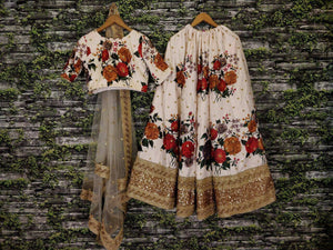 Hotseller Ivory Color Floral Print Online Wedding Lehenga Shopping