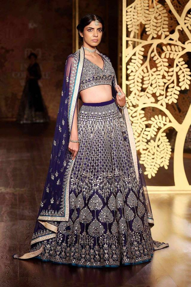 Navy Blue Silk Wedding Ghagra Chaniya Choli Design