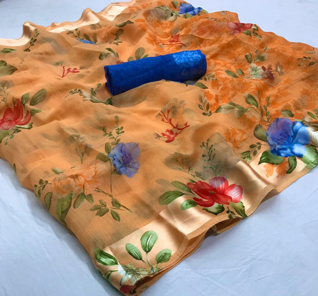 Classy Light Orange Floral Linen Saree Digital Print And Blouse