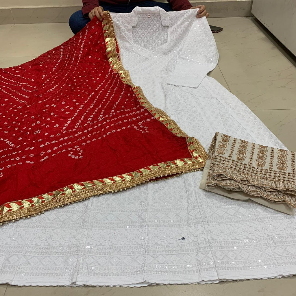 White Cotton Anarkali Palazzo With Red Silk Bandhani Dupatta