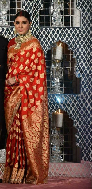 Anushka Red Banarasi Silk Bollywood Wedding Saree