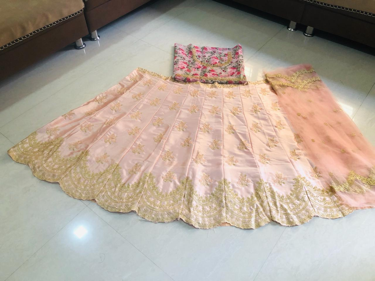 Peach Puff Embroidered Silk Beautiful Ladies Lehenga Suits