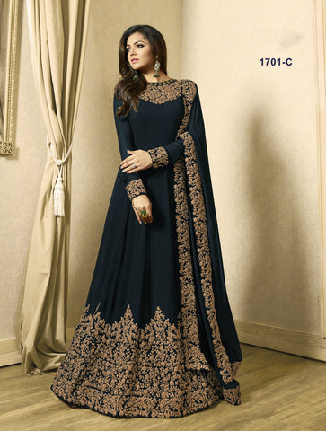 Dark Prussian Blue Floor Length Designer Wear Salwar Kameez