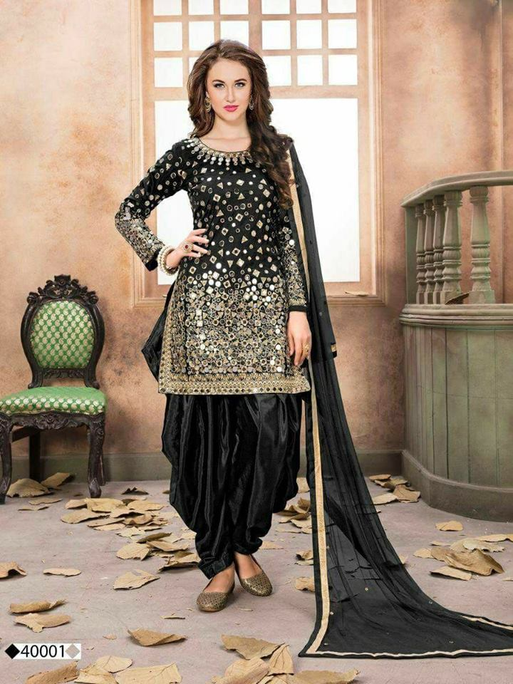 Black Taffeta Silk Patiala Salwar Suit Online Shopping