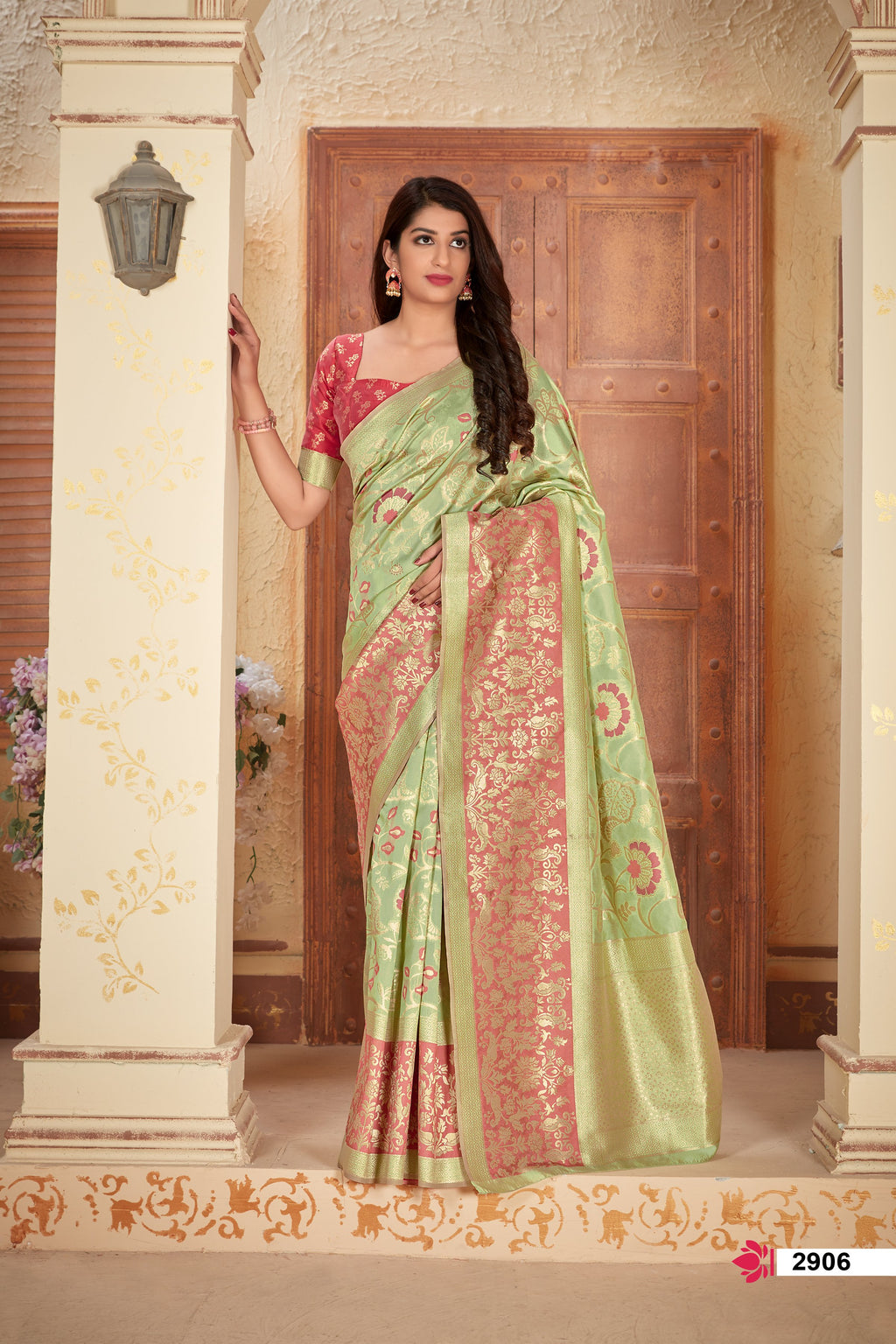 Light Pista Banarasi Silk New Sarees Collection With Price