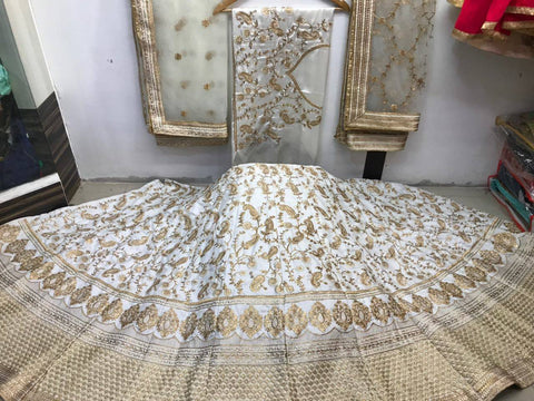 Cream Embroidery Silk Indian Dresses Ghagra Designs For Wedding
