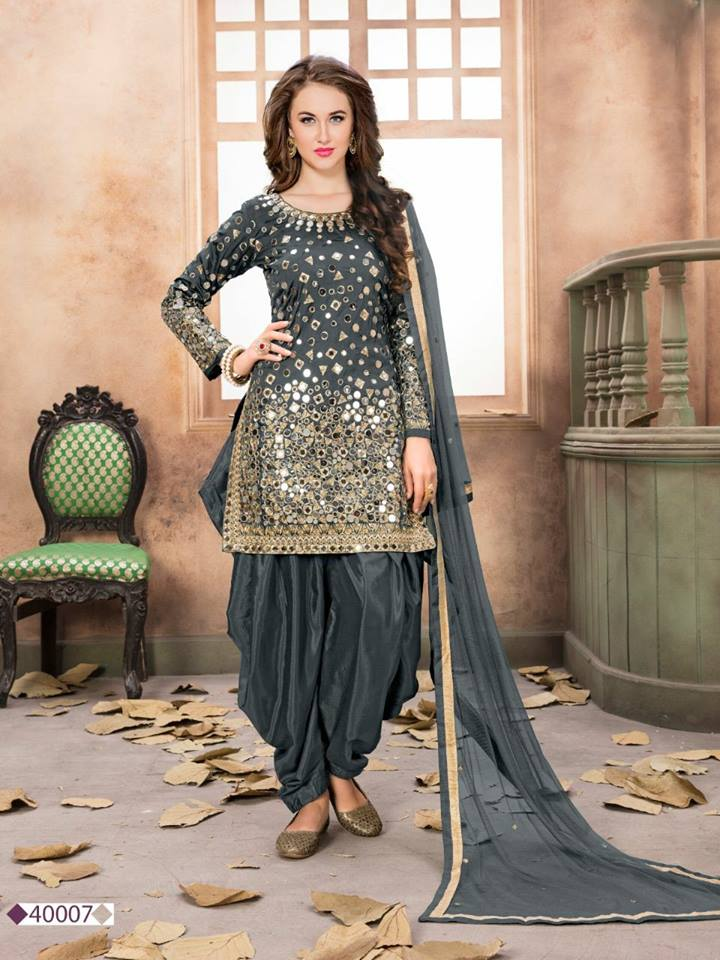 Grey Taffeta Silk Patiala Dress Punjabi Party Wear Suit1