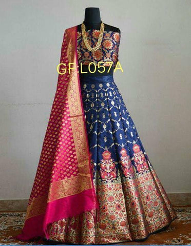 Dark Blue Silk Designs Online Shopping Sites For Lehengas