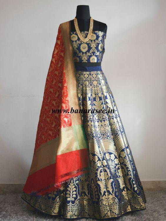 Navy Blue And Gold Silk Lengha Dresses Chaniya Choli Latest Design