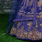 Navy Blue Banglori Silk New Party Wear Ghagra Dress Online Shopping