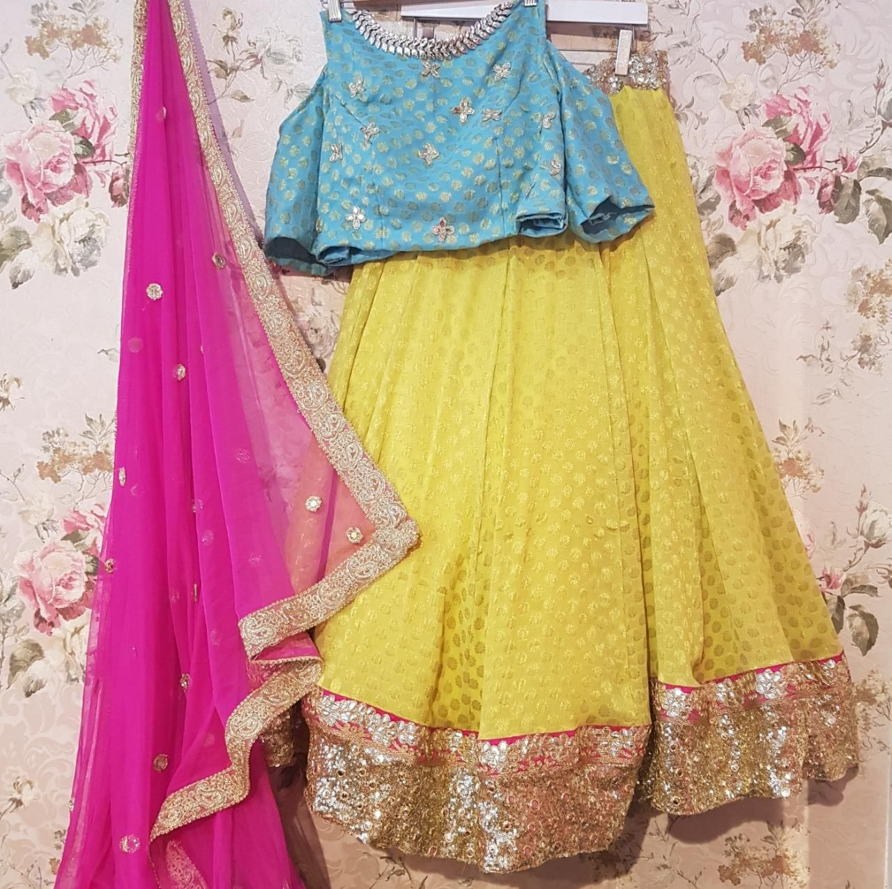 Yellow Chanderi Bollywood Lehenga Choli Online Shopping