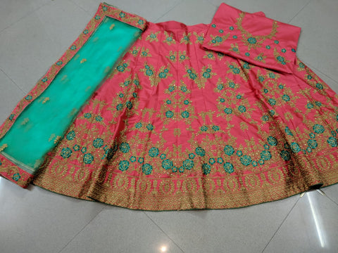 Salmon Pink Embroidered Silk Ghagra Choli For Wedding Dresses
