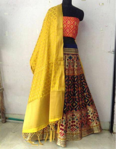 Blue And Gold Patola Silk Bollywood Lehenga Choli Online Shopping