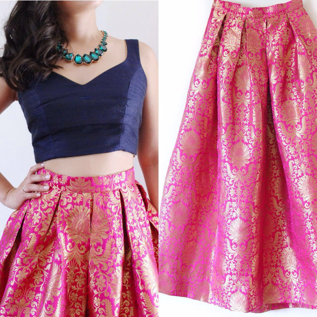 Pink Brocade Sleeveless Bollywood Designer Lehengas ,Indian Dresses