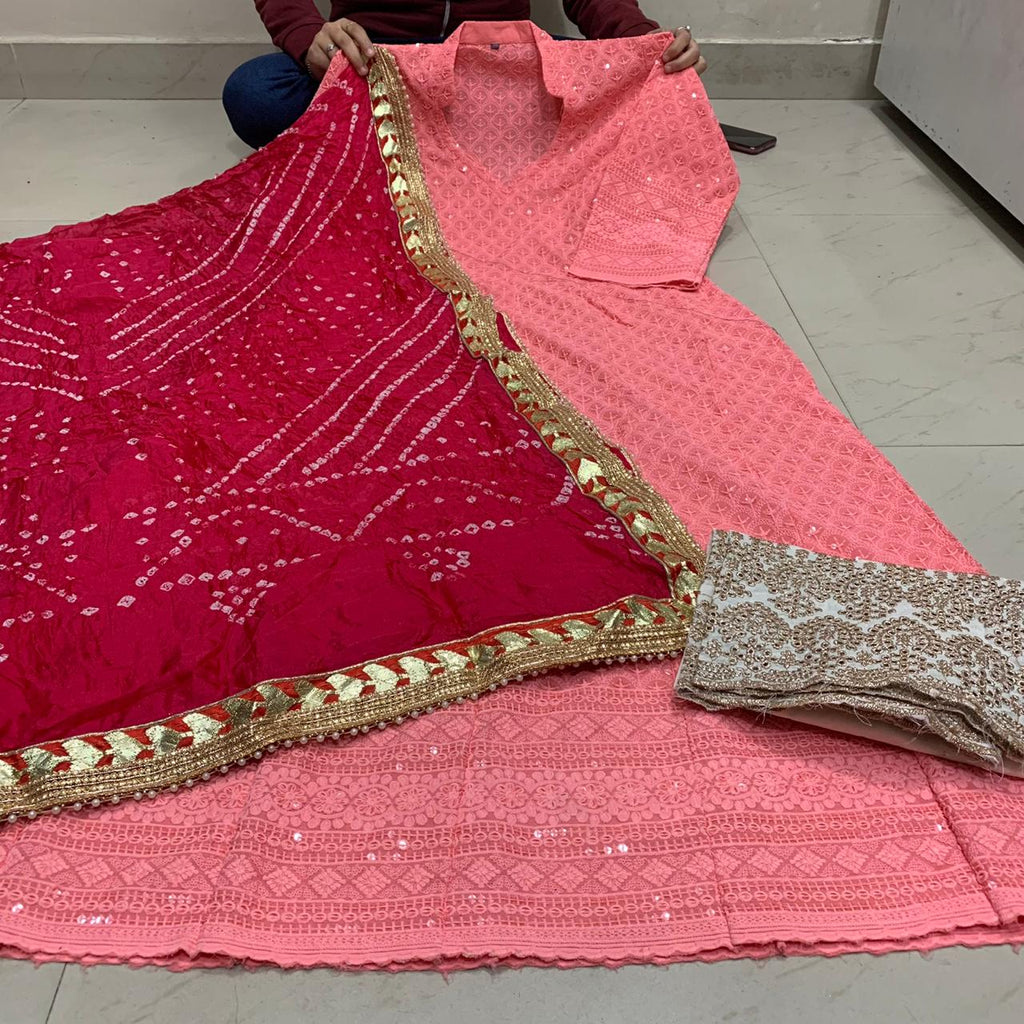Peach Cotton Anarkali Palazzo With Silk Bandhani Dupatta