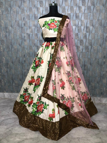 White Satin Banglori Floral Print Party Lehenga Choli Online  Buy