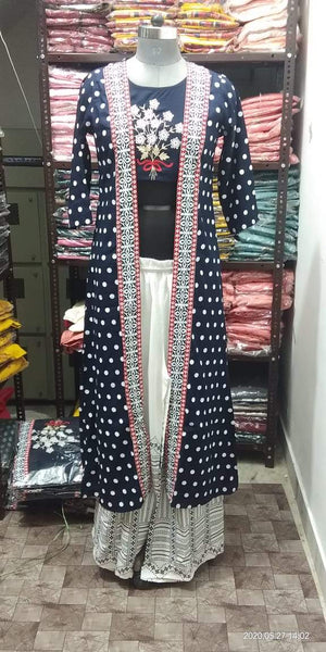 3 Piece Rayon Printed Shrug,Kurti And Palazzo Sets