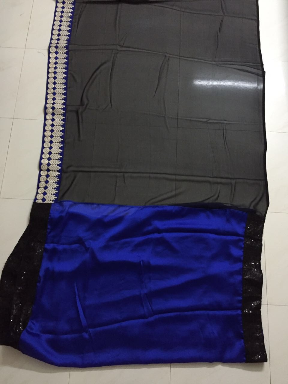 Blue And Black Half And Half Buy Bollywood Saree ,Indian Dresses - 5
