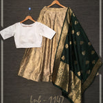 Printed Zari Satin Silk Combo Lehenga Blouse And Banarasi Dupatta