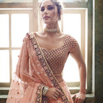 Embroidered Peach Net Indian Party Wear Lengha Choli Fashion Dress