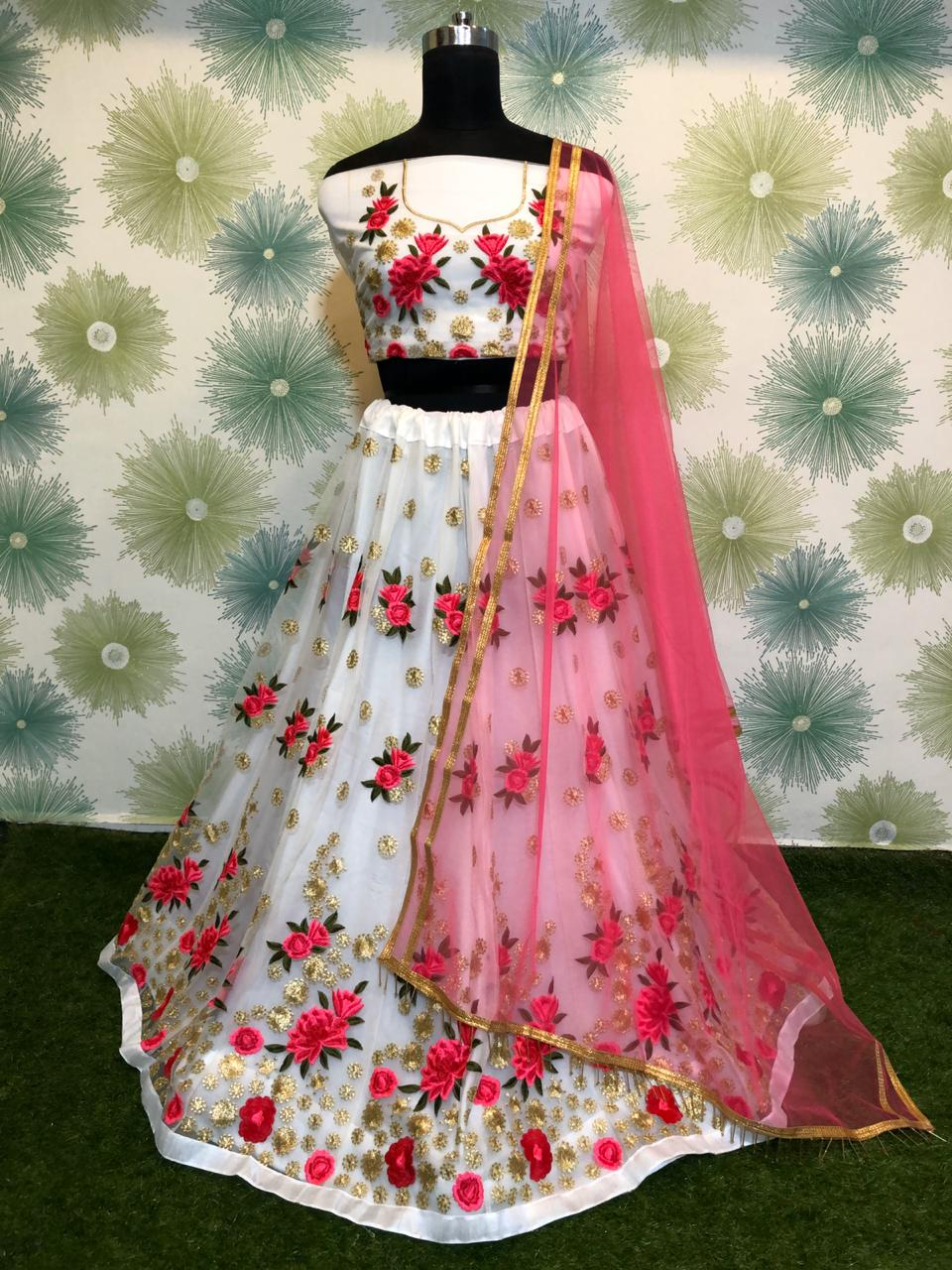 White Net Embroidered Beautiful Lehenga Blouse Designs Images