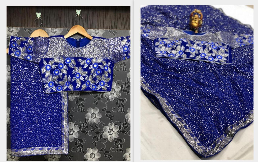 Blue Georgette Sequins Party Wear New Sarees Online Shopping