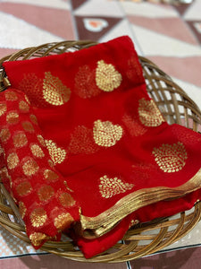 Red Banarasi Georgette Leaf Designs Party Saree Blouse India Online