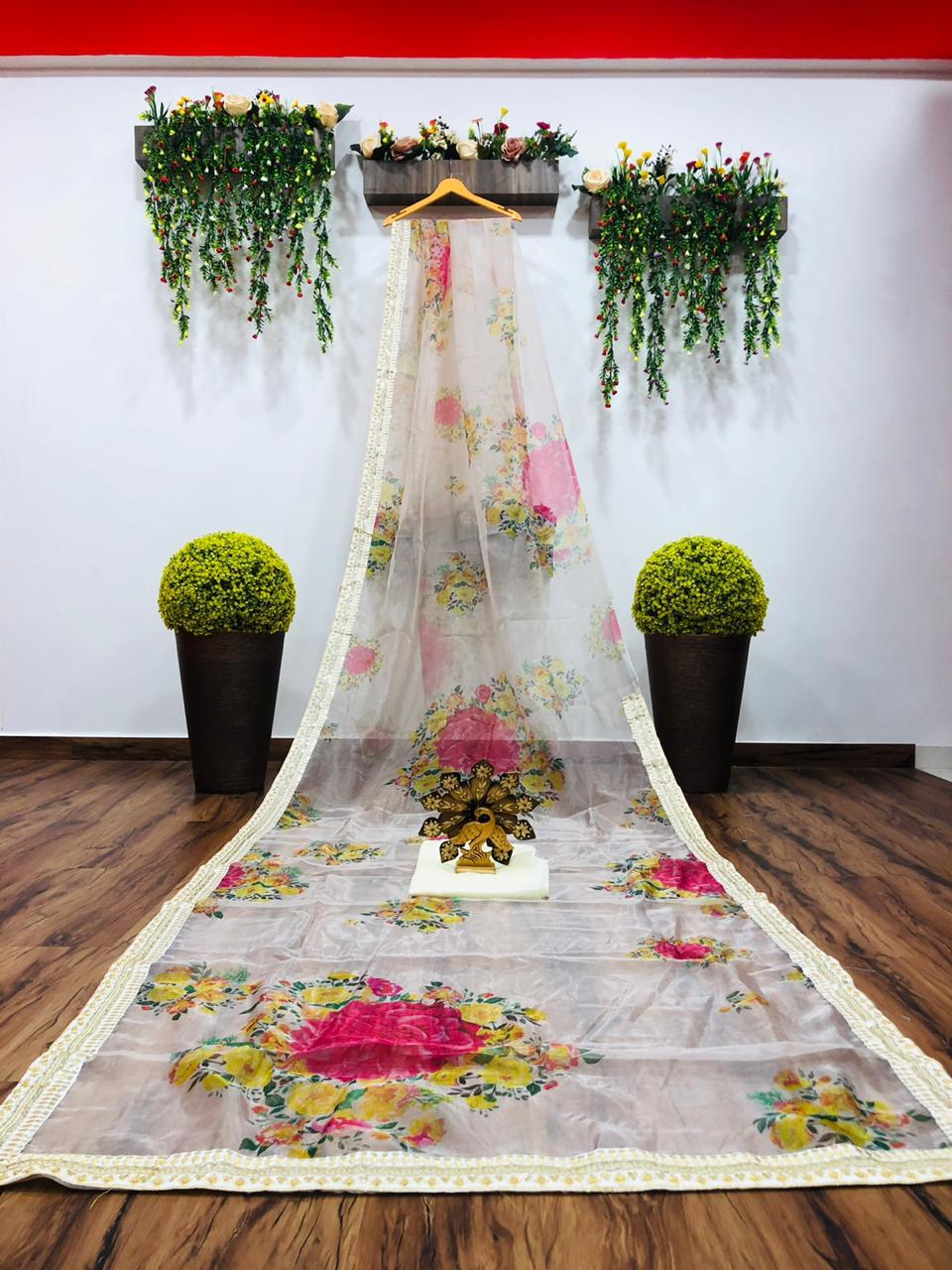 White Organza Silk Floral Print New Party Sarees Online Shopping