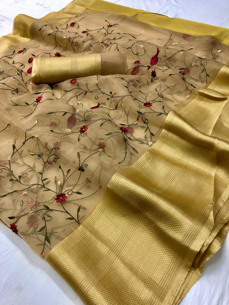 Beautiful Beige Organza Party Saree Online Shopping With Price