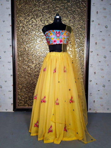 Yellow Georgette Embroidered Indian Party Wear Lehenga Choli