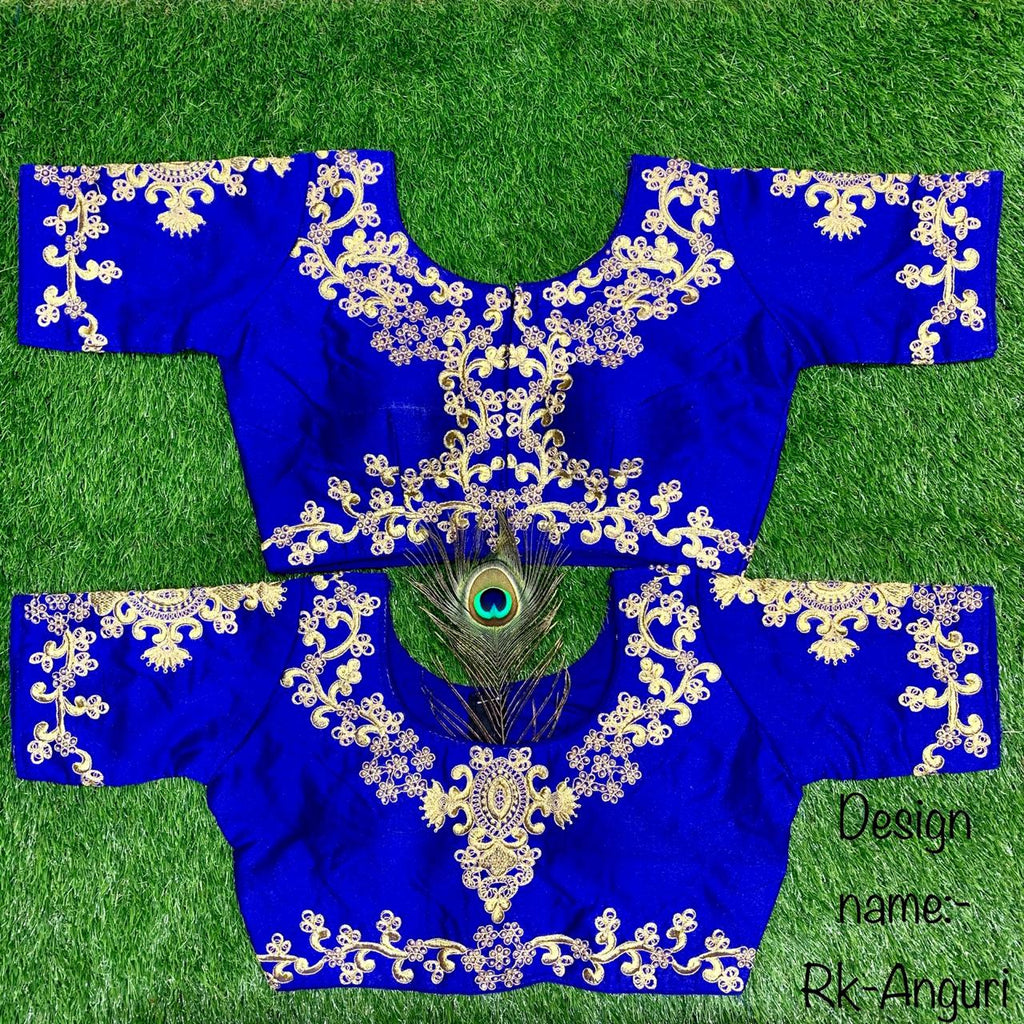 Royal Blue Embroidered Silk Short Blouse Online Buy