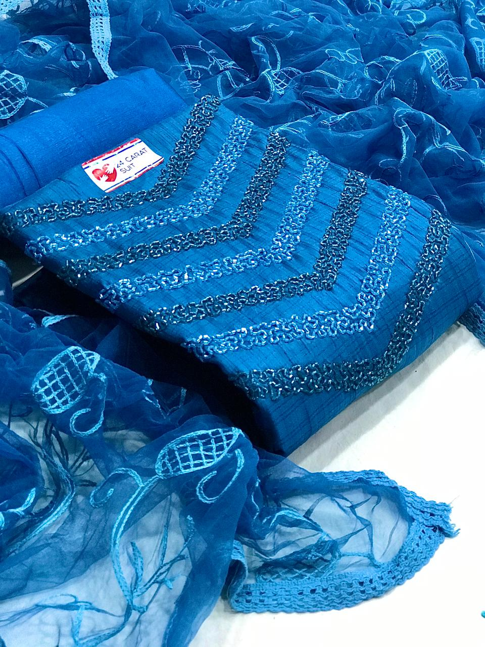Blue Indian Salwar Kameez Online With Stylish Net Dupatta